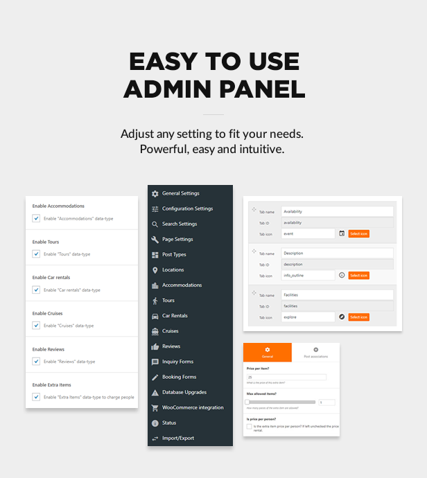 Intuitive and easy to use admin panel