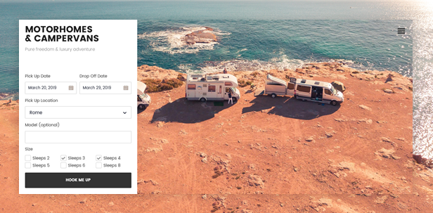 Motorhomes and Campervans WordPress Theme