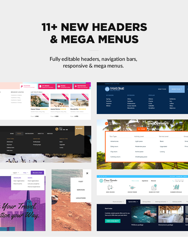 Header layouts and mega menus