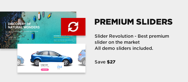 Premium Slider Revolution plugin and demo sliders included